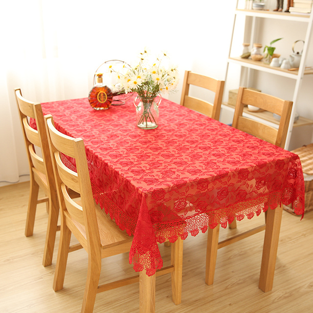 Lace Tablecloth Red Peony Pattern European Modern Simple Rectangular Round  Table Wedding Table Cloth Tea Table