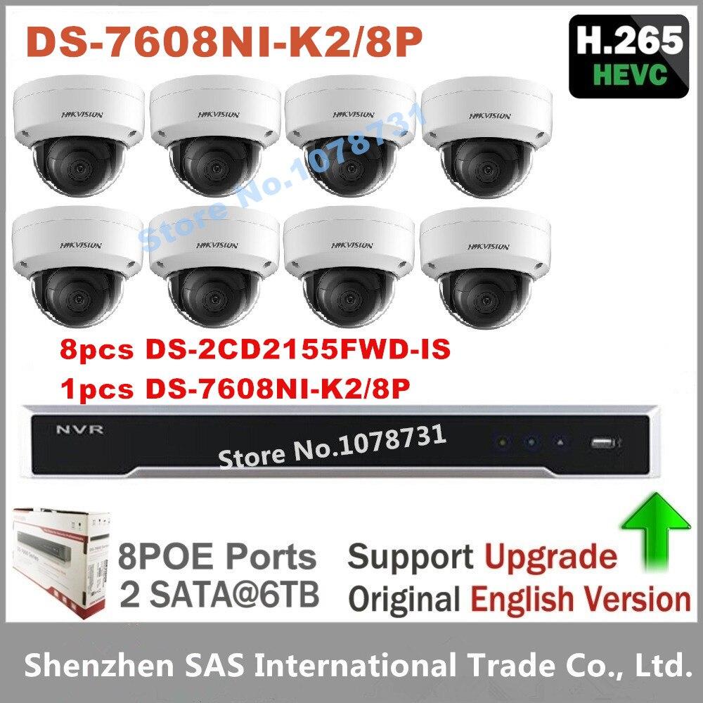 Hikvision Video Surveillance DS-7608NI-K2/8P Embedded Plug & Play 4K NVR 2SATA + 8pcs Hikvision H.265 IP Camera DS-2CD2155FWD-IS 4pcs hikvision surveillance camera ds 2cd2155fwd i 5mp dome h 265 ip camera hikvision ds 7604ni k1 4p 4ch 4poe 4k nvr one sata