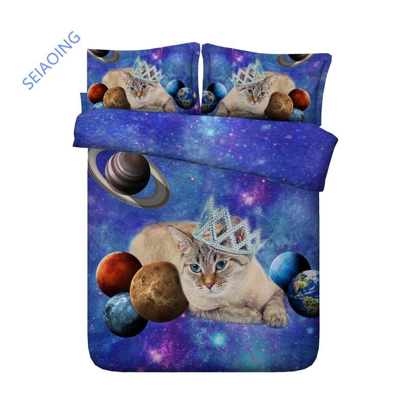 Ensemble de literie 3D reine animal chat couette/housse de couette double taille lit ensemble pour enfants chambre décor bleu galaxie chien maison textile roi