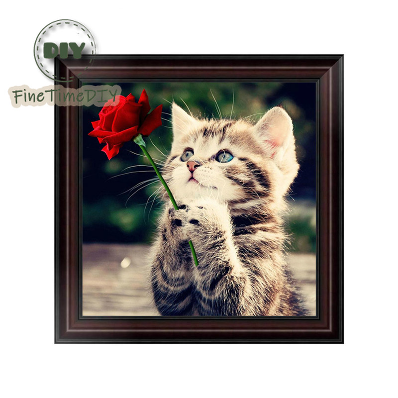 FineTime Cat Rose 5D DIY Diamond Painting Partial Drill Diamond Embroidery Cross Stitch Animals Mosaic Painting in Diamond Painting Cross Stitch from Home Garden