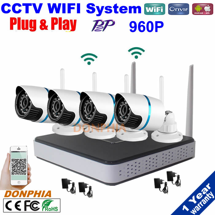 Plug And Play 960P HD Outdoor IR Night Vision Home Surveillance Security IP Camera WIFI CCTV System 4CH Wireless NVR Kit