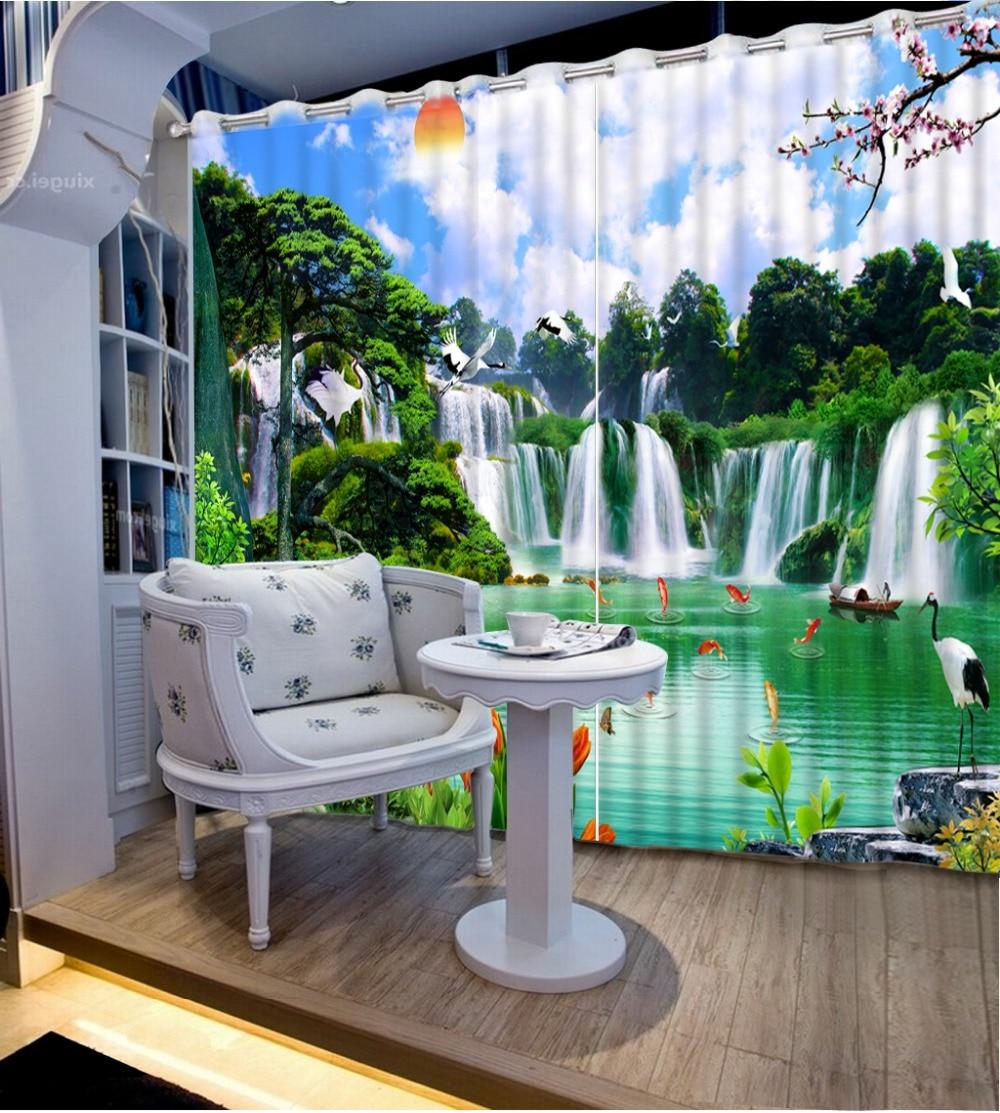 Мода Заказной характер пейзаж пейзаж водопад окна плотными шторами современные шторы для спальни