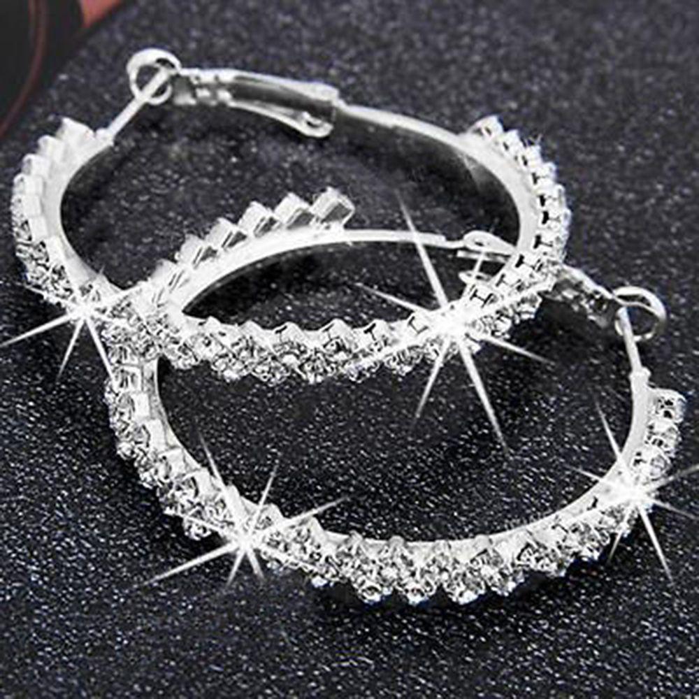 Mode Einfache Glänzende Kristall Hoop Ohrring Hohe Qualität Frauen Luxus Ohr Hoop Hochzeit Partei Schmuck Zubehör Profitieren Sie Klein