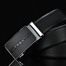 Mens business belt classic first layer leather simple quality luxury high metal automatic buckle