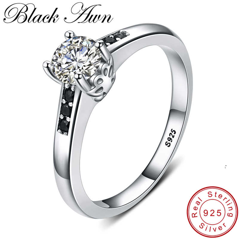 [BLACK AWN] 925 Sterling Silver Jewelry Finger Ring Leaf Black Spinel Rings for Women Female Bague Silver 925 Jewelry G093