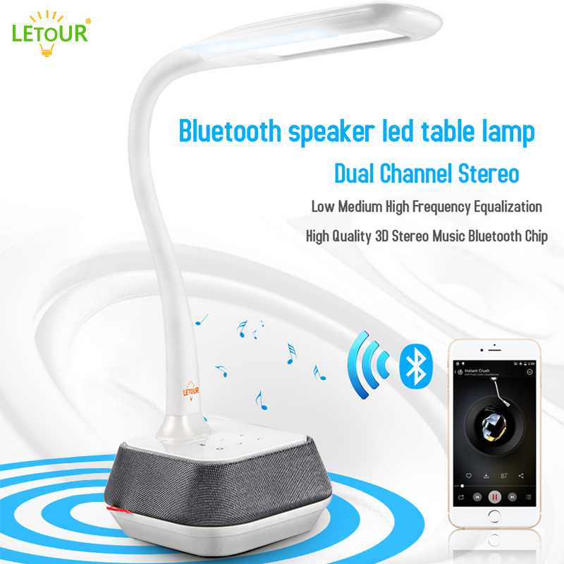 Desk Lamp Touch Switch Bluetooth Speaker Table Lamp With Surround Sound System 5 Dimmer Levels