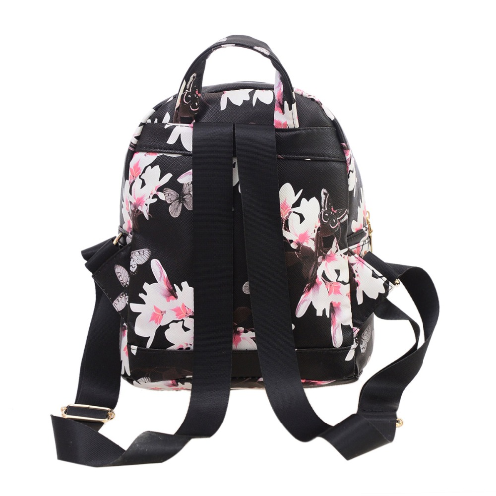 e661196f309 2017 Fashion Women Floral Printing Leather Backpack School Bags for Teenage  Girls Lady Travel Small Backpacks Mochila Feminina-in Backpacks from  Luggage ...