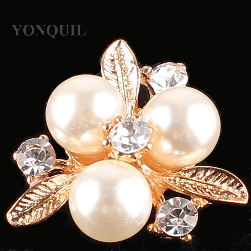 Peals DIY Jewelry Brooches accessories leaf rhinestone brooches pins material for cocat Wedding hats decor 15pcs/lot SYBB107