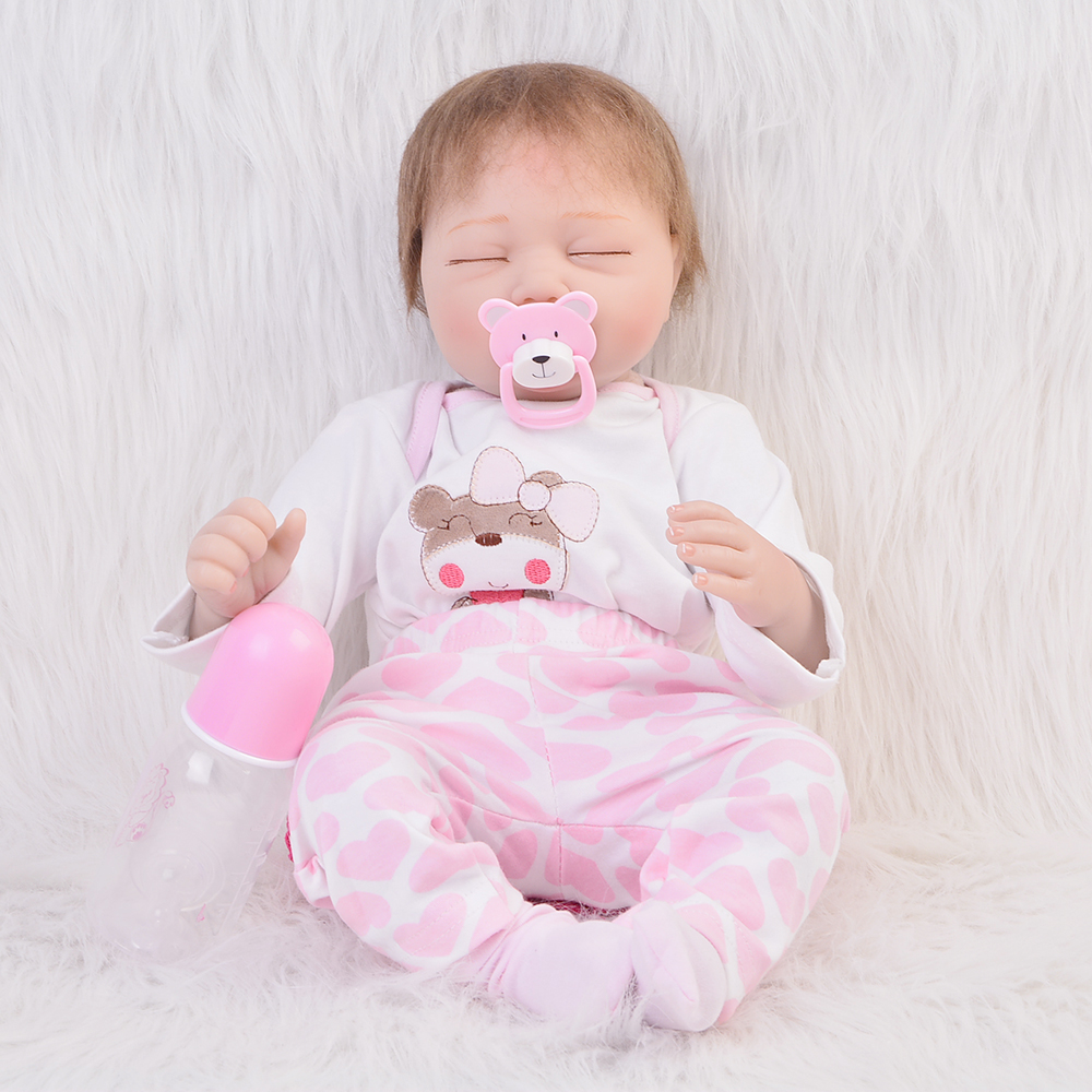Newest Lifelike Reborn Baby doll 22Inch Girl soft Silicone Vinyl Newborn Dolls With Lovely Clothing Kids Playmate Max Gift newest silicone reborn doll 50cm 20 handsome baby reborn dolls lifelike baby newborn christmas birthday gift juguetes for kids