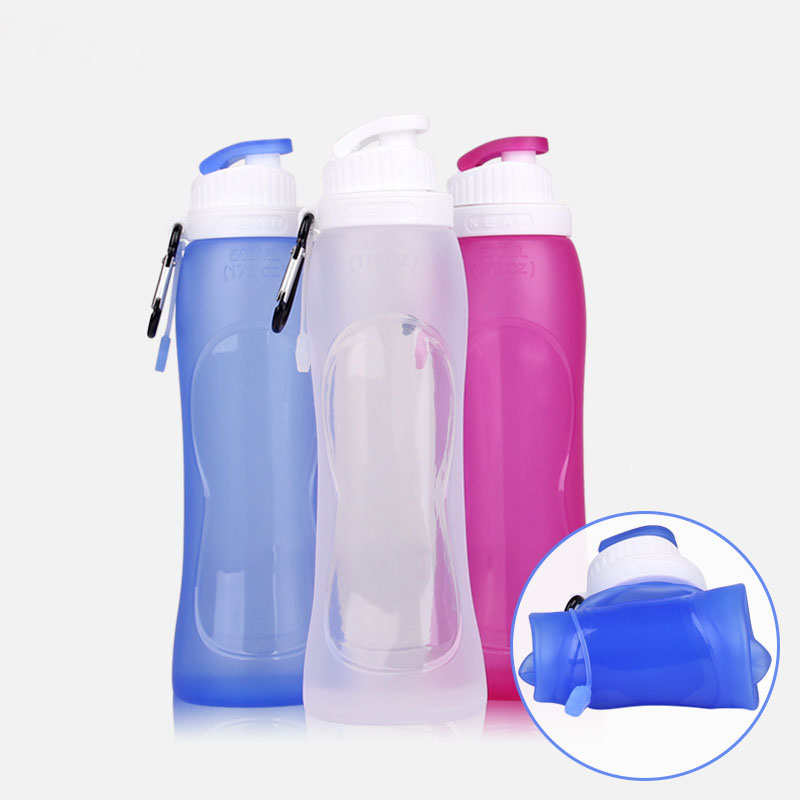 500ML Eco-Friendly Foldable Silicone Water Bottle For Travel Sport Camping Hiking Flexible Collapsible My Bottle HK091