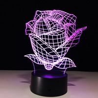 Rose Led Usb 3d Lamp Power Bank 3d Light Fixtures Mini Led Kids Bedroom Table Lamps