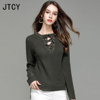 JTCY Plus Size Sexy Autumn V neck Women Sweater Long Sleeve Knitted Female Tops European Casual Winter Warm Women Pullovers