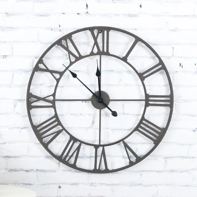 Fashion Big Wall Clock Home Decor Metal Wall Clock For Living Room Sofa  Decoration Luxury Rust Part 57