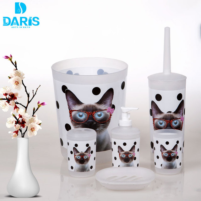 DARIS 6PCS Cartoon Wearing Glasses Of Cat Bathroom Set Black Spots Trash  Cans Soap Bottle Beautiful
