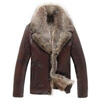 Лидер продаж высокое качество модные зимние Для Мужчин's Пальто для будущих мам куртка из искусственной кожи норки меховая куртка Кожаные к