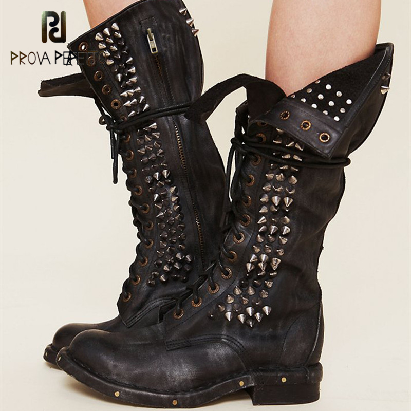 Prova Perfetto New Punk Style Rivet Real Leather Motorcycle Boots Woman Round Toe Cross-tied Boots Women Low Heels Knight Boots prova perfetto red color punk style genuine leather thick bottom woman mid boots solid round toe low heel rivet martin boots