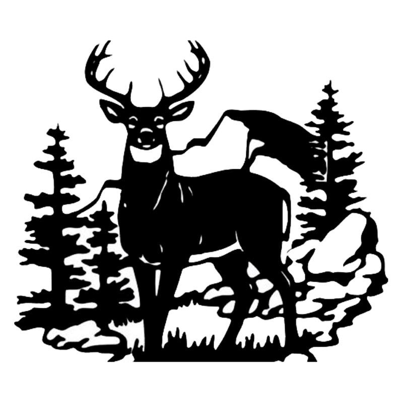 35.6*30.8CM Fashion Deer Wild Animal Vinyl Car Stickers Hunting Car Styling Door Decal Black/Silver C9-1816