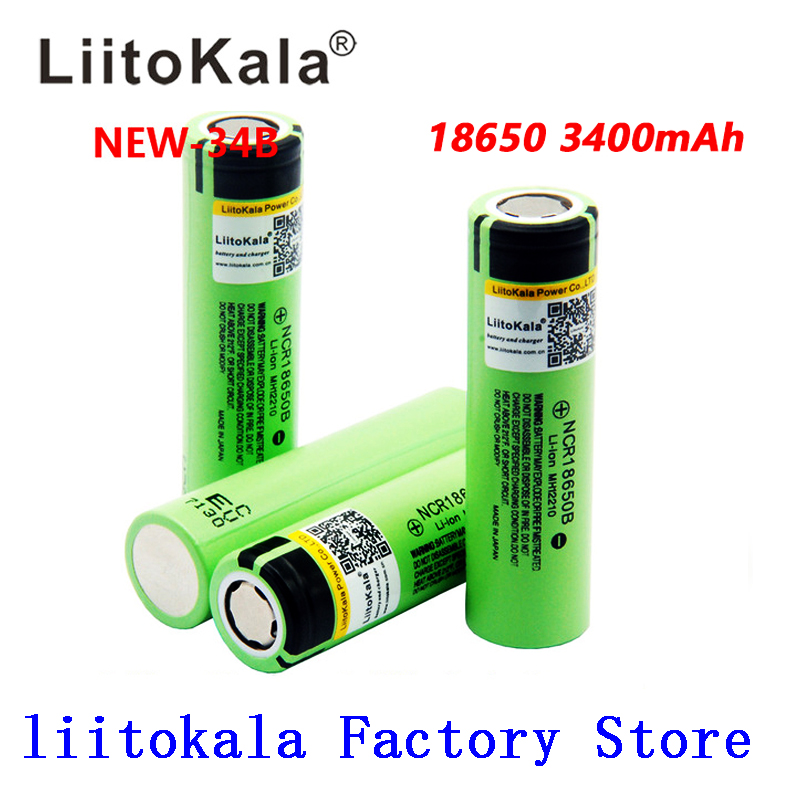 2019 LiitoKala <font><b>100</b></font>% New Original NCR18650B <font><b>3.7</b></font> <font><b>v</b></font> 3400 <font><b>mah</b></font> 18650 Lithium Rechargeable Battery For Flashlight batteries image