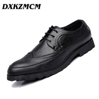 2018 Male Luxury Leather Brogue Men Shoes Casual British Style Men Oxfords Fashion Brand Dress Shoes