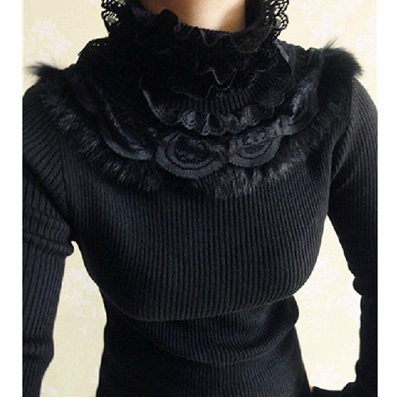 97897a578 Coelho cabelo rendas patchwork babados camisola de gola alta 2017 outono  inverno manga comprida malha pullovers jumpers senhoras puxar femme