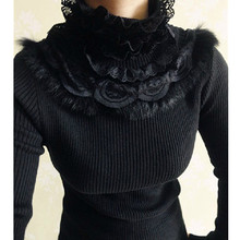 Rabbit hair lace turtleneck sweater women 2018 autumn winter cute long sleeve knitted pullover bodycon women jumpers pull femme