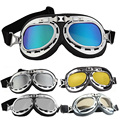 Qook Vintage Style Aviator Motorcycle Goggles Helmet Glasses Plating Silver Lenses