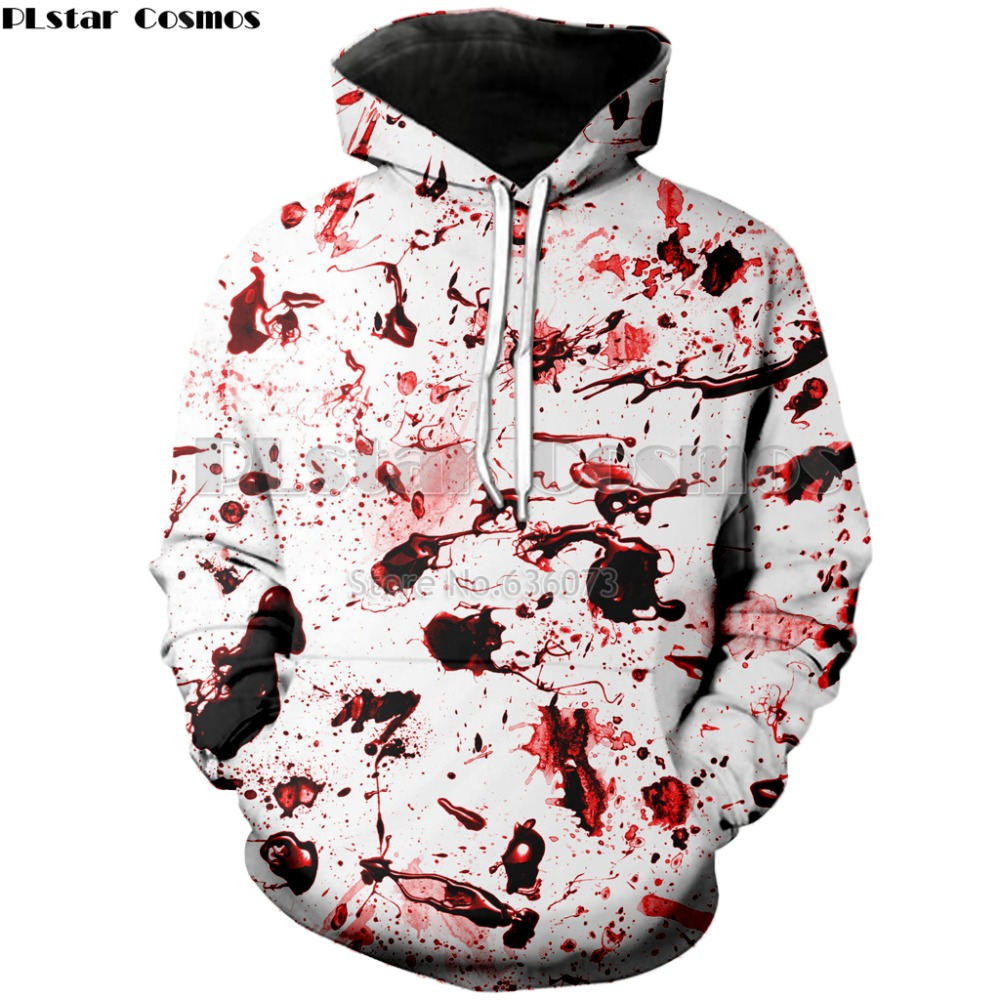 PLstar Cosmos Drop Shipping 2018 New Fashion 3d Hoodie Blood Splatter Funny Print Hooded Sweatshirt Mens/Womens Casual Hoody