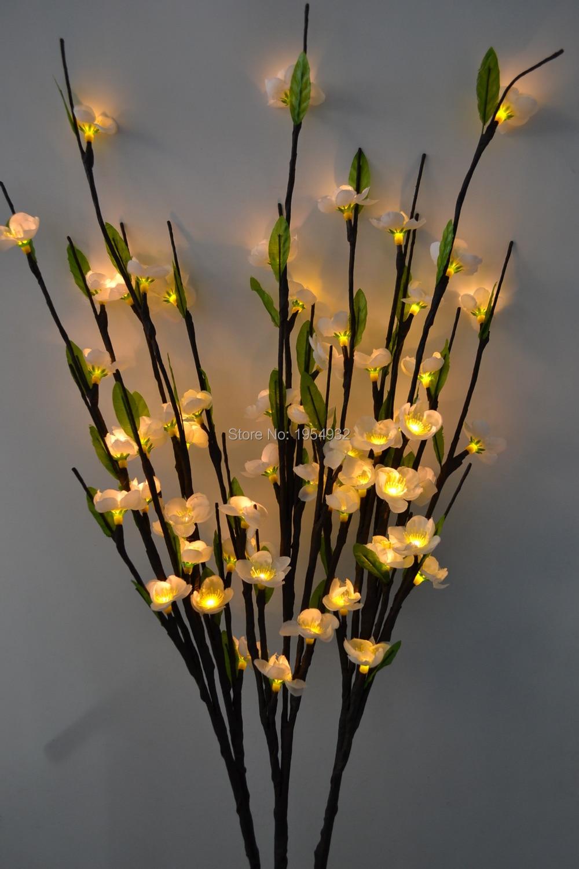 Бесплатная доставка светодиодный светильник на ветке сливы 39' с 60 Светодиодный светильник с зеленым листом светодиодный светильник на ветке сливы и вишни 7 цветов