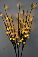 Free Shipping LED Blossom Plum Branch light 39' with 60Led Plus green leaf decoration LED Cherry Plum Branch Light 7 Colors
