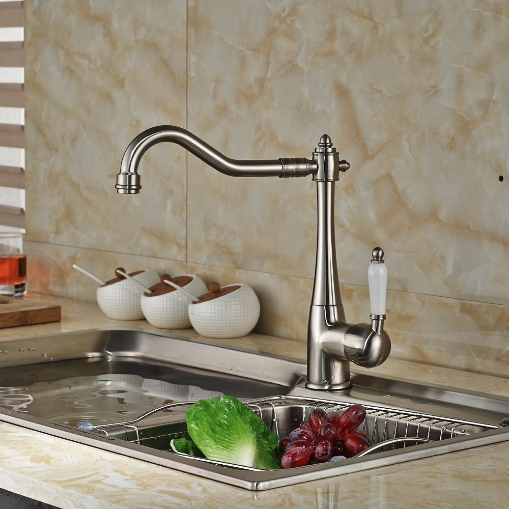 ФОТО Brushed Nickle Long Swivel Spout Tap Single Hole Kitchen Faucet Mixer Faucet