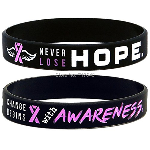 Pink wristbands breast cancer