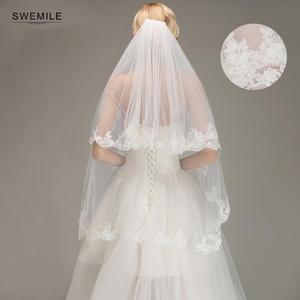 New Arrival Two Layer Tulle White Wedding Veil Fashion Appliques Fingertip Comb Bridal Veil Bridal Accessories Velo de Novia