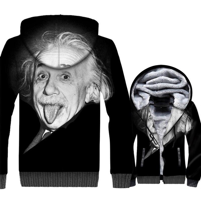 Einstein Hoodies Men 3D Funny Jacket Scientist Physicist Sweatshirt 2018 Winter Thick Fleece Coat The Big Bang Theory Sportswear