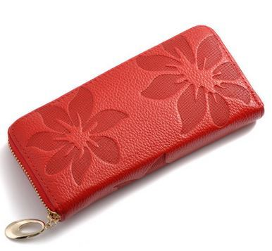 YESIKIMI women genuine leather clutches money clips Litchi embossed cowhide leather lady wallet luxury brand purse