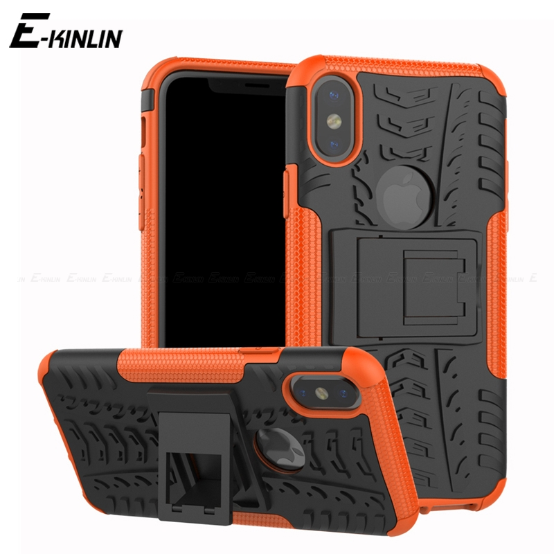 Tough Hard Heavy Duty Back Cover For iPhone 10 X Ten 6 6S 8 7 Plus Shockproof Hybrid Impact Stand Holder Armor Case