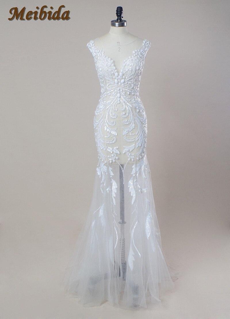 Vestido de noiva sereia bridal dress white luxury mermaid for Black mermaid wedding dress