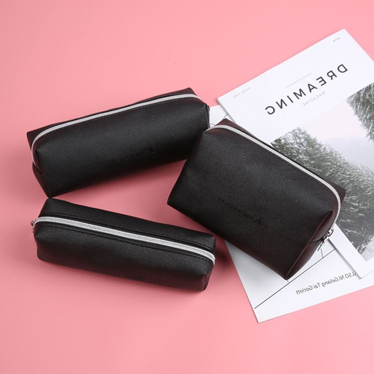 Black Pencil Case For Office Gift School PU Leather Pencil Case  Big Capacity Pencil Bag Pencilcase School Supplies Stationery