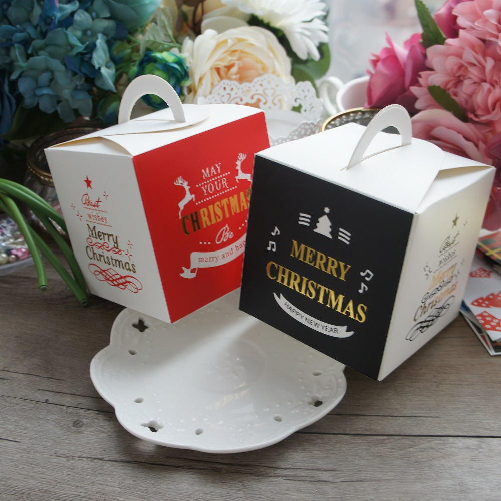 US $11 11 |10 PCS 2 Style Paper Box black red gold classic Candy Cake  Cookies Container Food Packaging ChristmasParty Gift packaging-in Gift Bags  &