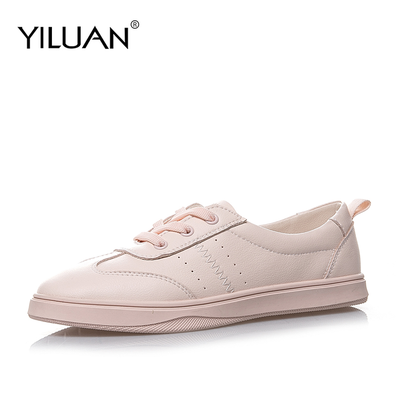 Yiluan 2019 Spring women flats genuine leather shoes Loafers ballet flats white sneakers women shoes woman