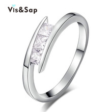 цена на Euramerica ring simple style white Gold plated Rings For Women jewelry AAA crystal CZ diamond Wedding gifts fashionJewelryVSR215