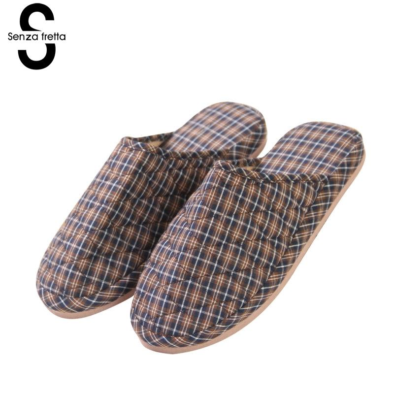 Senza Fretta Winter Warm Men Lattice Slipper Indoor Couple Cotton Slippers Thick Bottom Soft Warm Non-slip Slippers Couple Shoes fashion style winter cotton slippers shoes for men and women couple soft home house floor foam bottom warm slipper high quality
