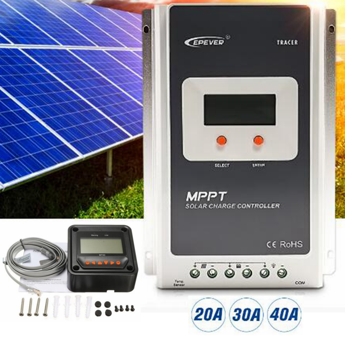 12/24V MPPT Solar Charge Controller RS-485 Regulator 40/30/20A with MT50 Black Remote Meter LCD Panel Display Design Ultra-fast ol 6494 xeфигура сова всегда на связи sealmark