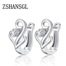 Hot Sale Romantic Jewelry Stud Earrings For Wedding Elegant Silver Color AAA Cubic Zirconia Crystal Earring  For Women Gift hot sale rose gold color multicolor aaa cubic zircon brilliant stud earrings for women elegant wedding ear