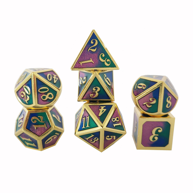 Factory Outlet Nova fonte Dungeons & Dragons 7 pçs/set Criativo Dice RPG D & D Dados Do Metal conjunto azul transparente