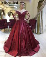 Mbcullyd Burgund Ballkleid Prom Kleider 2019 Langen Ärmeln Sicke Kleid Abend Tragen Neue Plus Größe Arabisch vestidos de festa