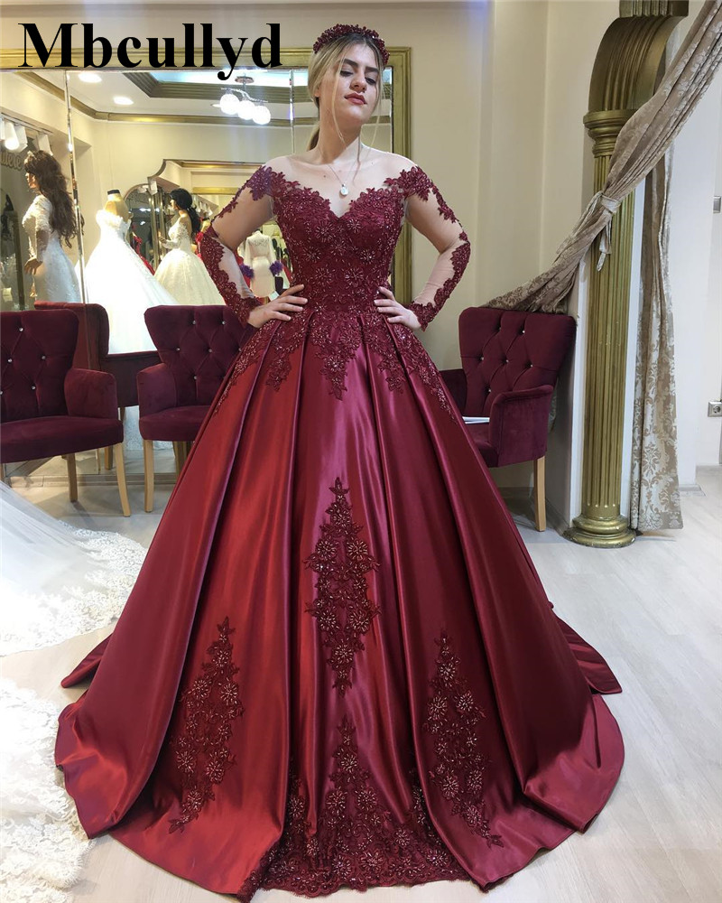 Mbcullyd Burgundy Ball Gown Prom Dresses 2019 Long Sleeves Beading Dress Evening Wear New Plus Size Arabic vestidos de festa