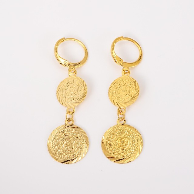 2pairs Hot 24k Gold Earring Coin Earrings Muslim Ic Jewelry Woman Ancient