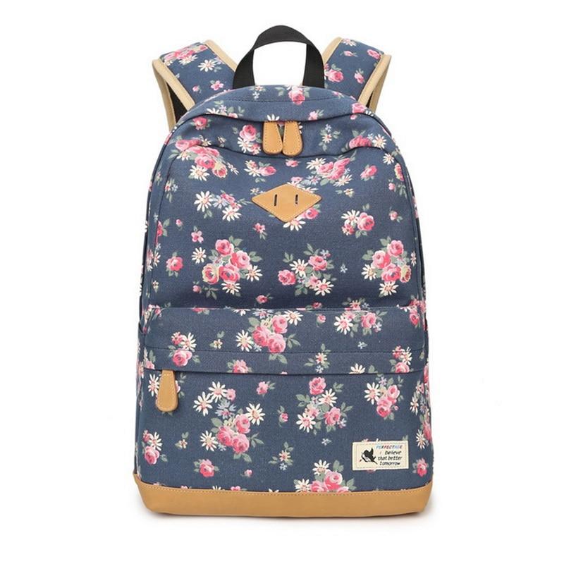 SHUJIN Fashion Vintage Canvas Women Backpack Students School