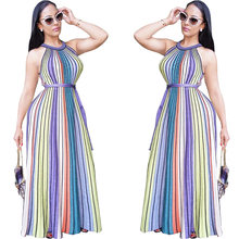 Pakistan Women Clothing Indian Saree 2017 Hot Style In Europe And The Print Dress Sexy Sleeveless Chromatic Stripe Full-skirted(China)