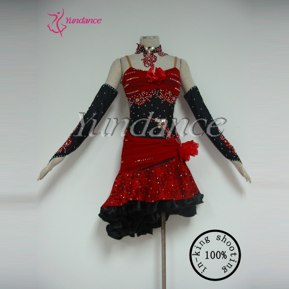 2016 Hot Sexy Red Custom Girls Latin Dance Dress For Sale L-11182
